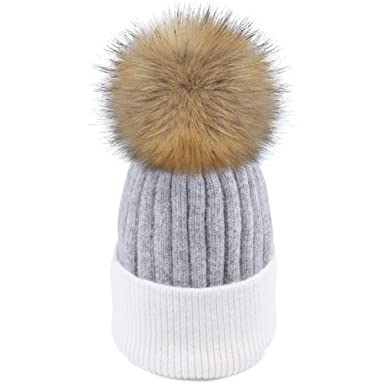 800b1348cfc FURTALK Pom Pom Hats for Women - Ladies Bobble Hat - Winter Warm Angora  Wool Knitted Beanie Hat  Amazon.co.uk  Clothing