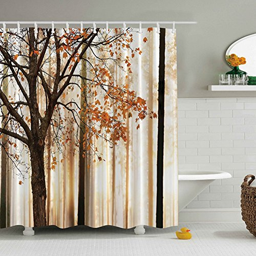 GDAE10 3DArt Paintings Shower Curtain, Premium Polyester Home Curtains, Water-resistant Bathroom Decorations(including 12 hooks) (Red maple leaf forest)