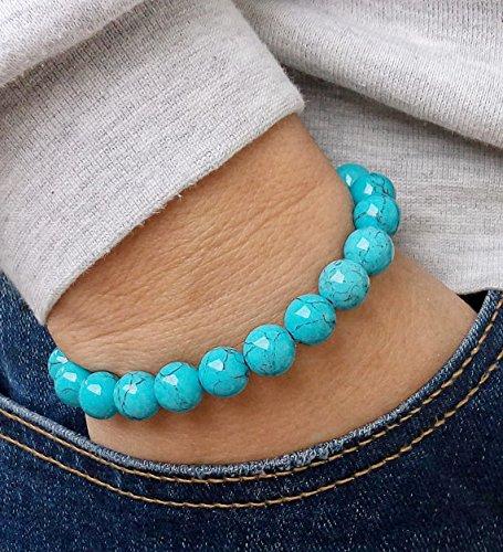 (JP_Beads Mens Bracelet Perle Homme 12 mm Turquoise Bracelet Women Natural Bracelet Chakra Energy Yoga Bracelet Turquoise Meditation Healt)