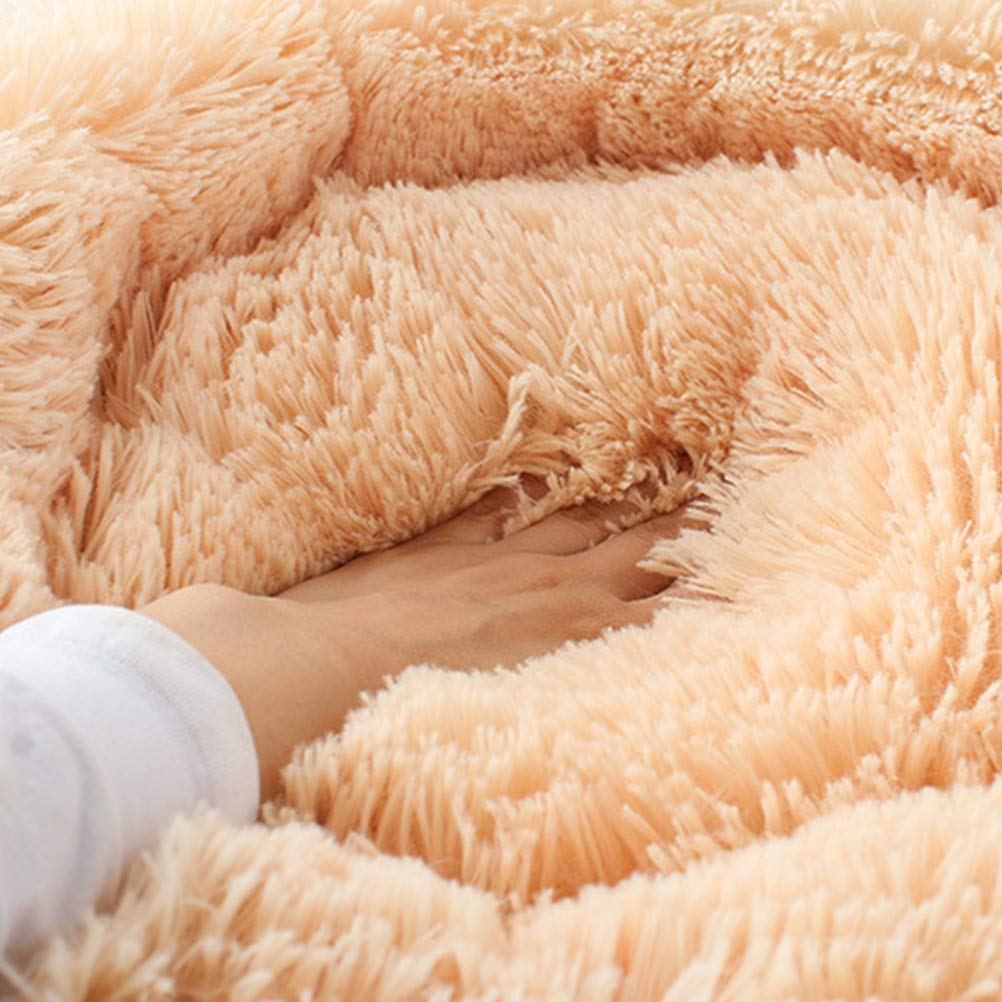 POPETPOP Luxury Shag Fur Donut Cuddler Round Cat and Dog Cushion Bed Self-Warming and Cozy for Improved Sleep (Big Size, Beige) by POPETPOP (Image #2)