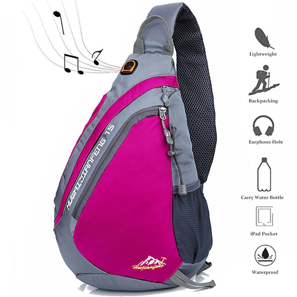 Peicees Travel Sling Backpacks Crossbody Sling Chest Backpack Bag Single Shoulder Sling Bags with Water Bottle Holder and Strap Phone Pocket for Women Men(Rose Red)