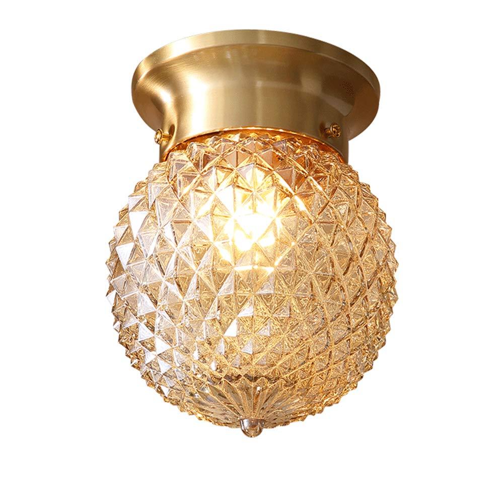 """TopDeng Transparent Mini Glass Globe Ceiling Light, 6"""", E26, Semi Flush Mount Modern Brass Ball Pineapple Ceiling lamp for Dining Room Entrance Corridor-A 15x15cm"""
