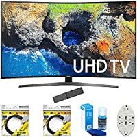 Samsung 54.6 Curved 4K Ultra HD Smart LED TV 2017 Model (UN55MU7500FXZA) with 2x 6ft High Speed HDMI Cable, Screen Cleaner for LED TVs & Transformer Tap USB w/ 6-Outlet Wall Adapter and 2 Ports