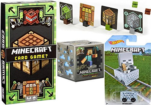 Minecraft Card Game Mine, Craft, Build! + Hot Wheels Minecard Ride-Ons Creeper & Skeleton Card (Skeleton Reserve)