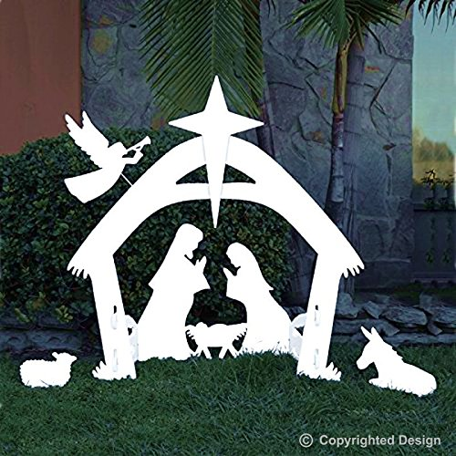 Christmas Decorations In White - EasyGo Large Outdoor Nativity Scene - Large Christmas Yard Decoration Set and Reusable For Many Years