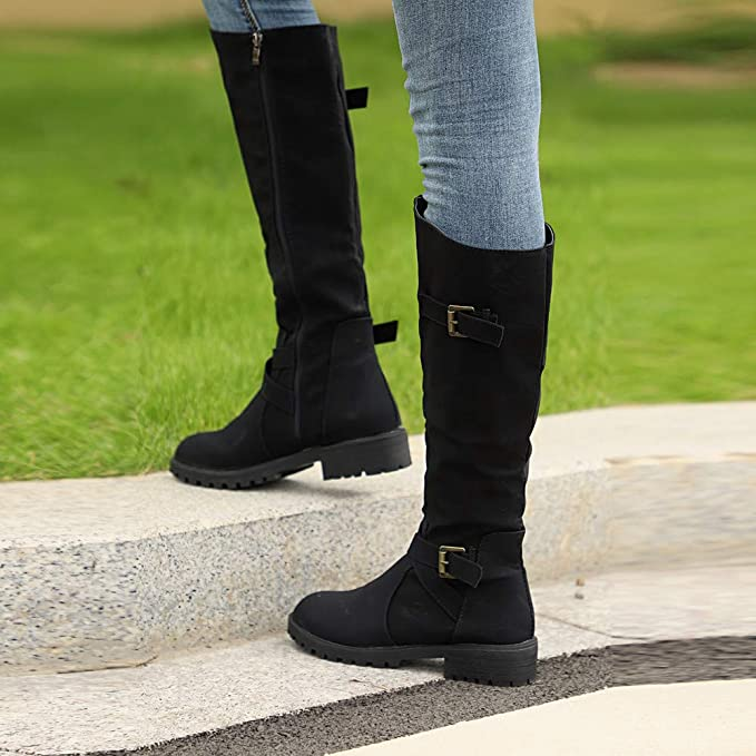 9b2f28b930f Challyhope Womens Wide Calf Riding Boots Knee High Zipper Buckle Strappy  Winter Chunky Combat Military Boots