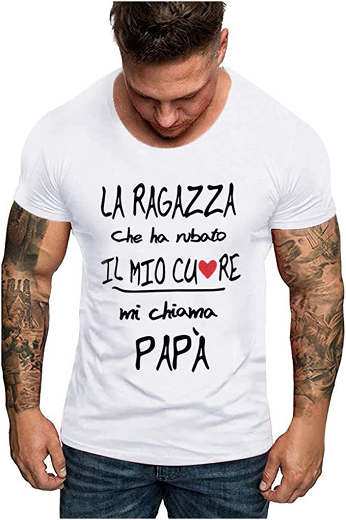 POQOQ T Shirts Tops Blouse Men Father's Day O Neck Short Sleeve Print
