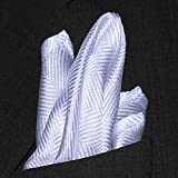 "Light Grey Herringbone Silk Handkerchief - Full-Sized 16""x16"""