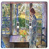 Rikki Knight 3014 Double Toggle Childe Hassam Art The Goldfish Window Design Light Switch Plate