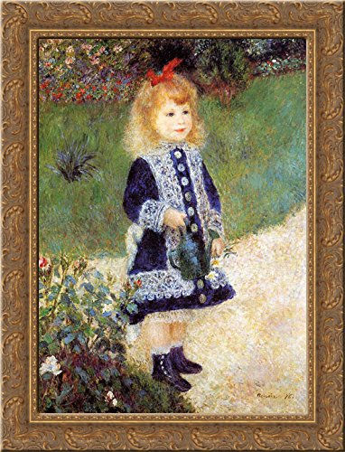 Cana Framed - Girl with a Watering Can 20x24 Gold Ornate Wood Framed Canvas Art by Renoir, Pierre Auguste