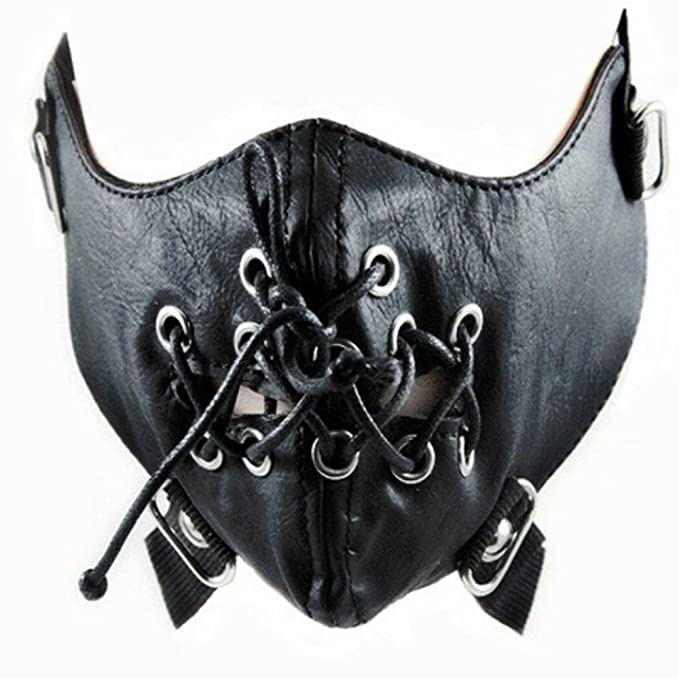 zswellgo sxbest 1 Pack Steampunk Leather Mask Biker Men Half Face Mask Airsoft Wind Cool Punk Rivets Black Masquerade Leather Mask …