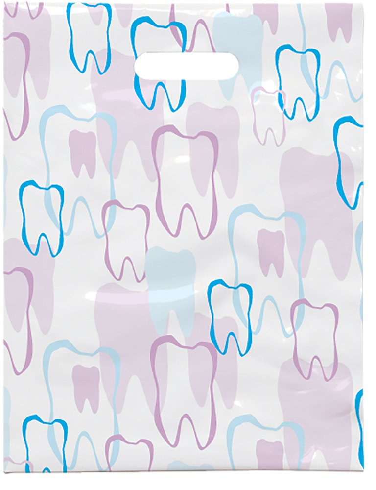 Practicon 1109664 Scatter Print Tooth Outline Bags, 8'' x 10'' (Pack of 100)