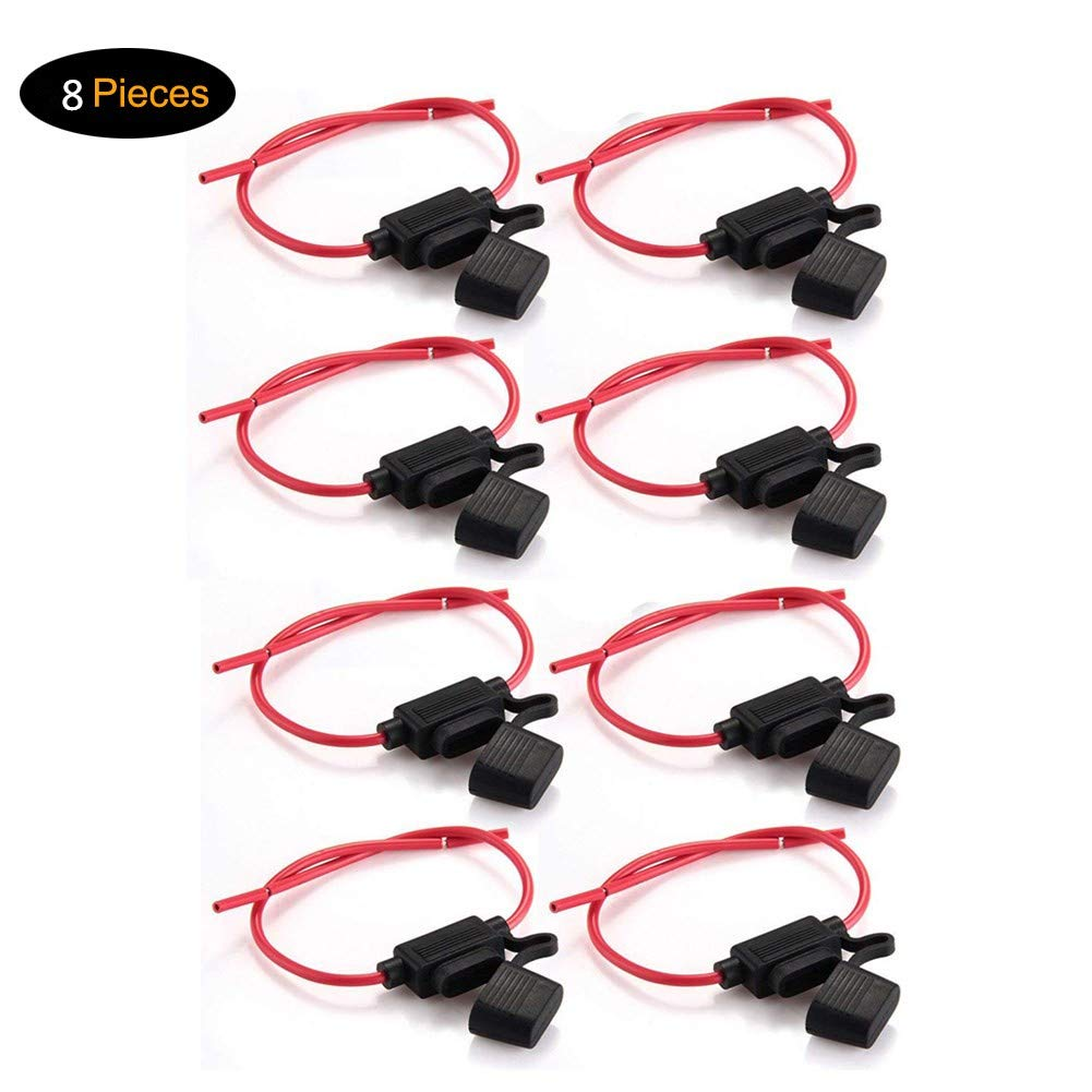 Tian 8 Pack Inline Waterproof ATC/ATO Fuse Holder 14AWG Wiring Harness 12V 20Amp Automotive Blade Fuse(Medium)