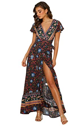 d8566bd88 OLUOLIN Bohemian Dresses for Women Wrap V Neck Floral Print Casual ...