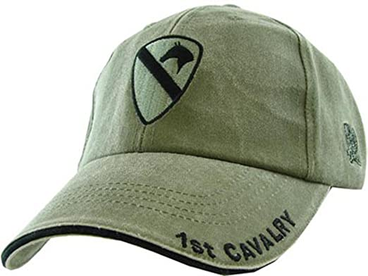 4dfb492a8405c Amazon.com  Army Caps 1st Cavalry Division OD Green Ball Cap ...