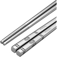 Stainless Steel Chopsticks 304 Alloy Non-Slip All-Square Chopsticks Household Insulation Japanese Chopsticks 5-Piece Set…