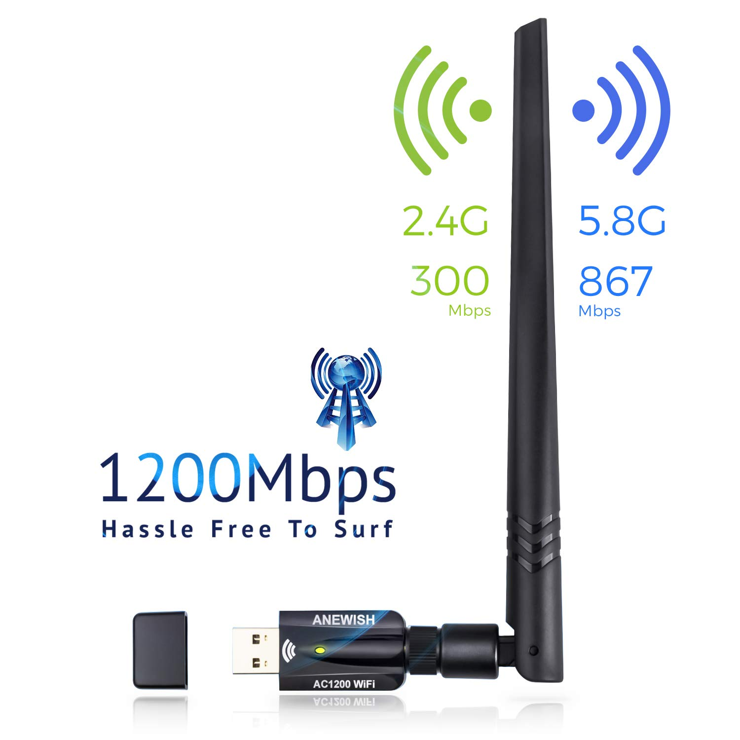 Wifi Adapter for PC 1200Mbps Wireless USB WiFi Adapter 3.0 Network LAN Card with 5dBi Antenna Dual Band 2.4G/5G 802.11ac WiFi Adapter Compatible PC/Desktop/Laptop/Tablet, Windows 10/8.1/8/7/XP, Mac OS by AE WISH ANEWISH
