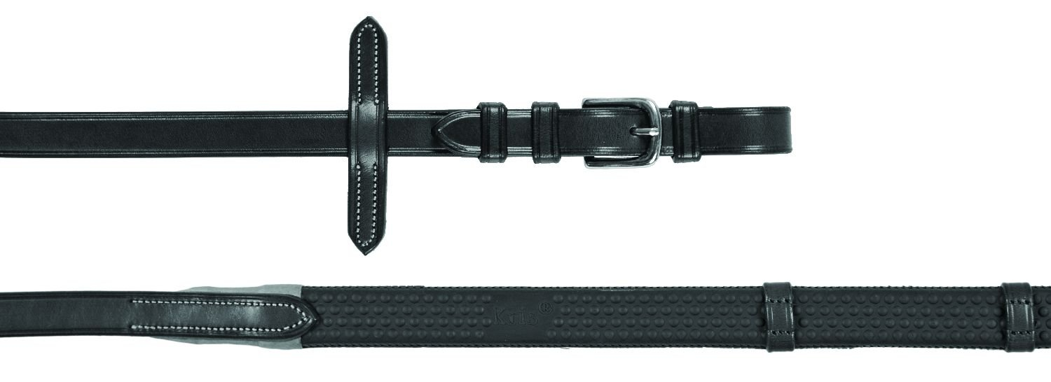 Black  FULL Black  FULL EQUESTRO Italian Leather Rubber Reins 1.9 cm Model Kris Silver Fittings