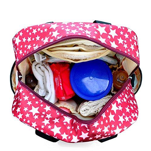 Fumee multifunción bolsa de pañales bolso grande momia mochila de nylon impermeable bolso + bolsa de aislamiento botella + Stoller correas + cambiador + mojado/seco bolsa de tela negro negro rosso