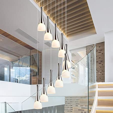 Moderno Minimalista Escalera de caracol Araña larga Araña creativa Hotel Villa Escalera Bola de cristal Candelabro simple Sala de estar Comedor Candelabro de 8 luces, 10 luces (Size : 10-Lights) : Amazon.es: Hogar
