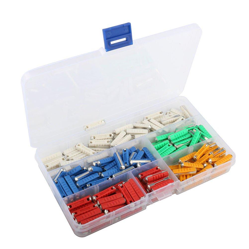 VORCOOL Kit de surtido de fusibles de coche de 200 piezas 5/8/10/16/25AMP 32V para vehí culo automó vil