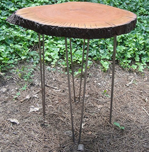Accent or Side Table Cherry Tree Trunk with Hairpin Steel Legs and Lacquer Finish - Country End Cherry Table