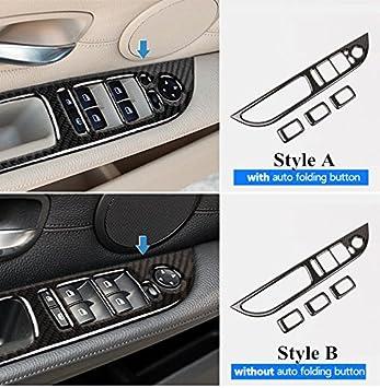 Karbonfaser Autot/ür Fensterheber Schalter Taste Rahmen Zierleisten 4Stk Style A
