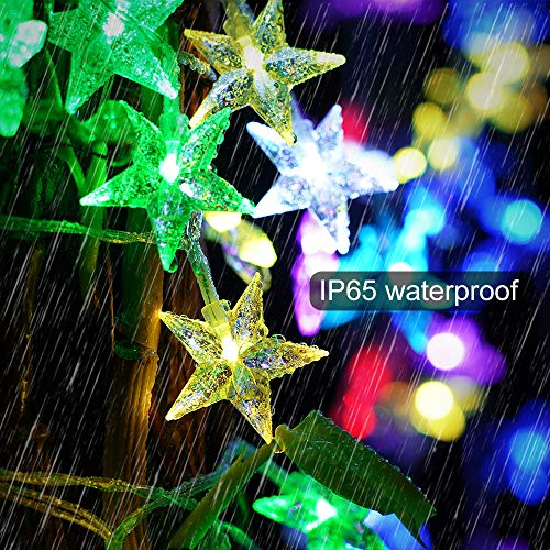NUÜR 16.5ft Color Changing Star Fairy String Lights with 50 RGB LEDs, 16 Stunning Colors & 4 Lighting Modes, Remote Control & USB Plug-in, Waterproof for Indoor and Outdoor, Parties, Christmas