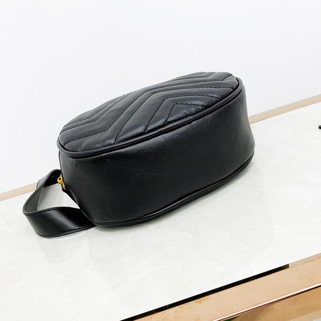 Kehome Women Bag Fashion Pure Color Leather Messenger Shoulder Bag Chest Bag Quilted Leather Fanny Pack Classy Wasit Bag (Black) by Kehome (Image #5)