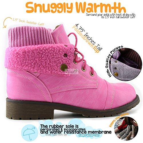 Dailyshoes Da Donna Stile Combat Up Maglione Stivaletto Alla Caviglia Con Taschino Per Portafogli Carta Di Credito Tasca Portafogli Rosa Pu