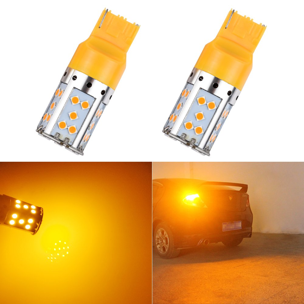 LED Bulb BAU15S PY21W S25 1156 Amber Yellow Turn Signal Lights No Anti Hyper Flash Front Rear Lamps Wedge Bulbs Replacement Error Free Super Bright 3030SMD 12V 21W 1 Year Warranty 150° 2Pcs【1797】