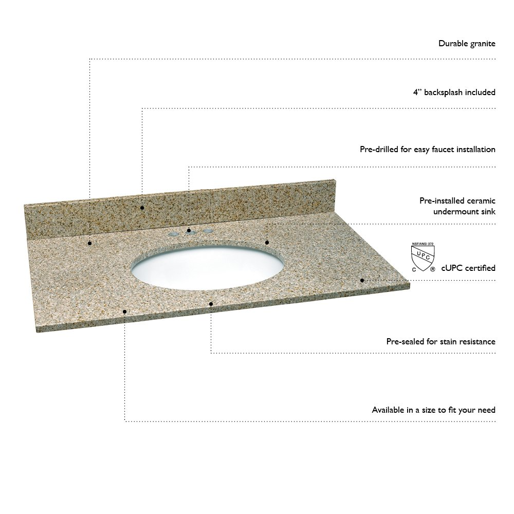 25-Inch by 22-Inch Design House 552463 Granite Vanity Top//Single Bowl Golden Sand