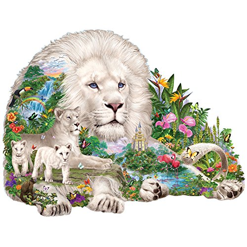 Bits and Pieces - 300 Piece Shaped Puzzle - Dream of the White Lions, Big Cat - by Artist Liz Goodrick-Dillon - 300 pc Jigsaw