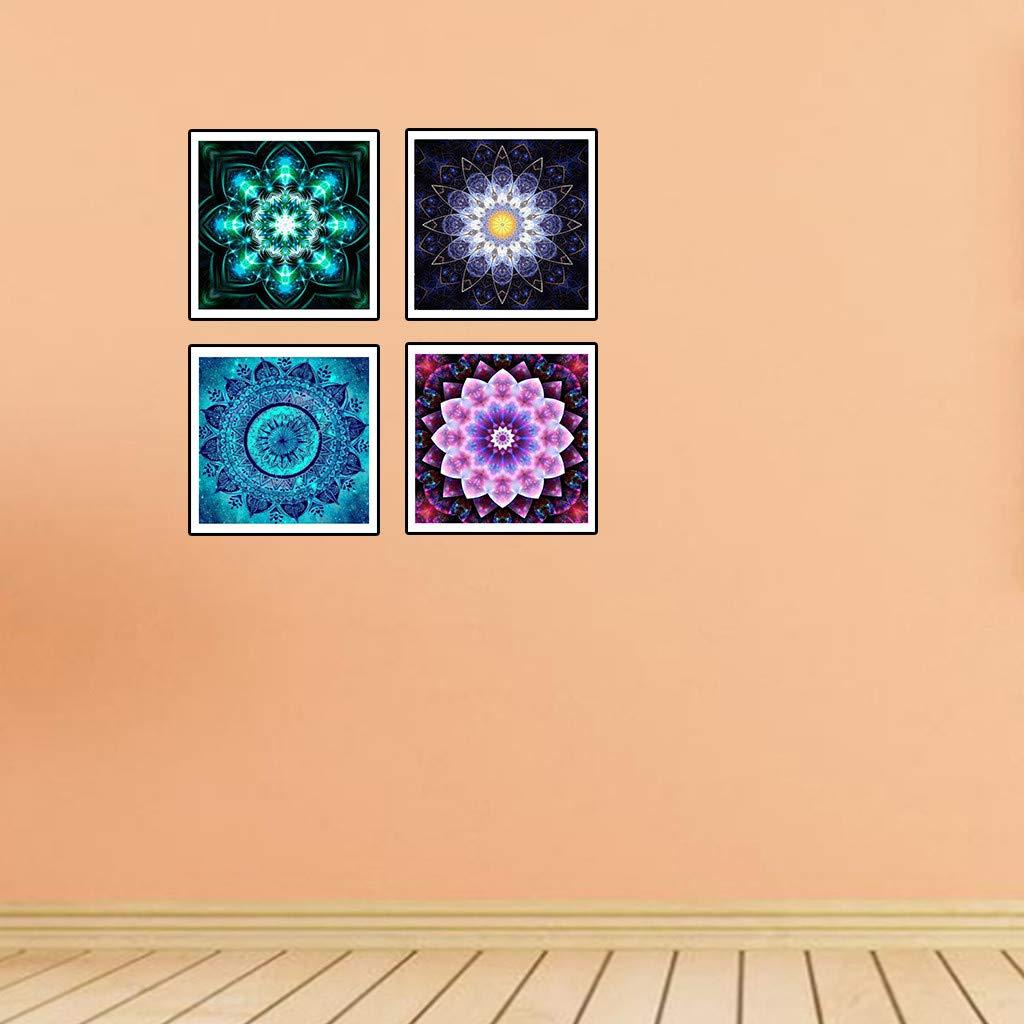 pintura manualidades patr/ón de flor bricolaje regalo creativo talla /única MR pedrado punto de cruz Pintura de diamantes 5D 4 unidades 25 x 25 cm forma especial decoraci/ón del hogar