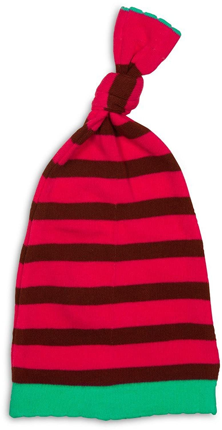 hot Izzy and Owie Striped Loose Baby Hat, 0-12 Month, Red/Green/Maroon