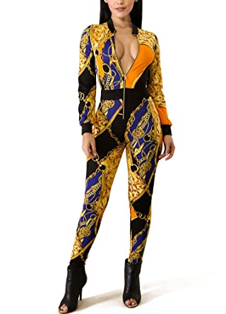 Women Chain Print Off Shoulder Bodycon Girl/'s Long Jumpsuit Rompers Clubwear