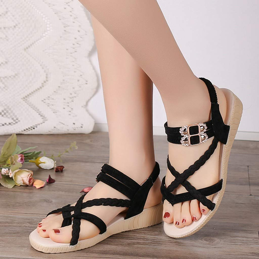 HHei_K Women Summer Pure Color Simple Flat Buckle Strap Rome Shoes Elastic Band Open Toe Students Casual Beach Sandals Black by HHei_K (Image #2)