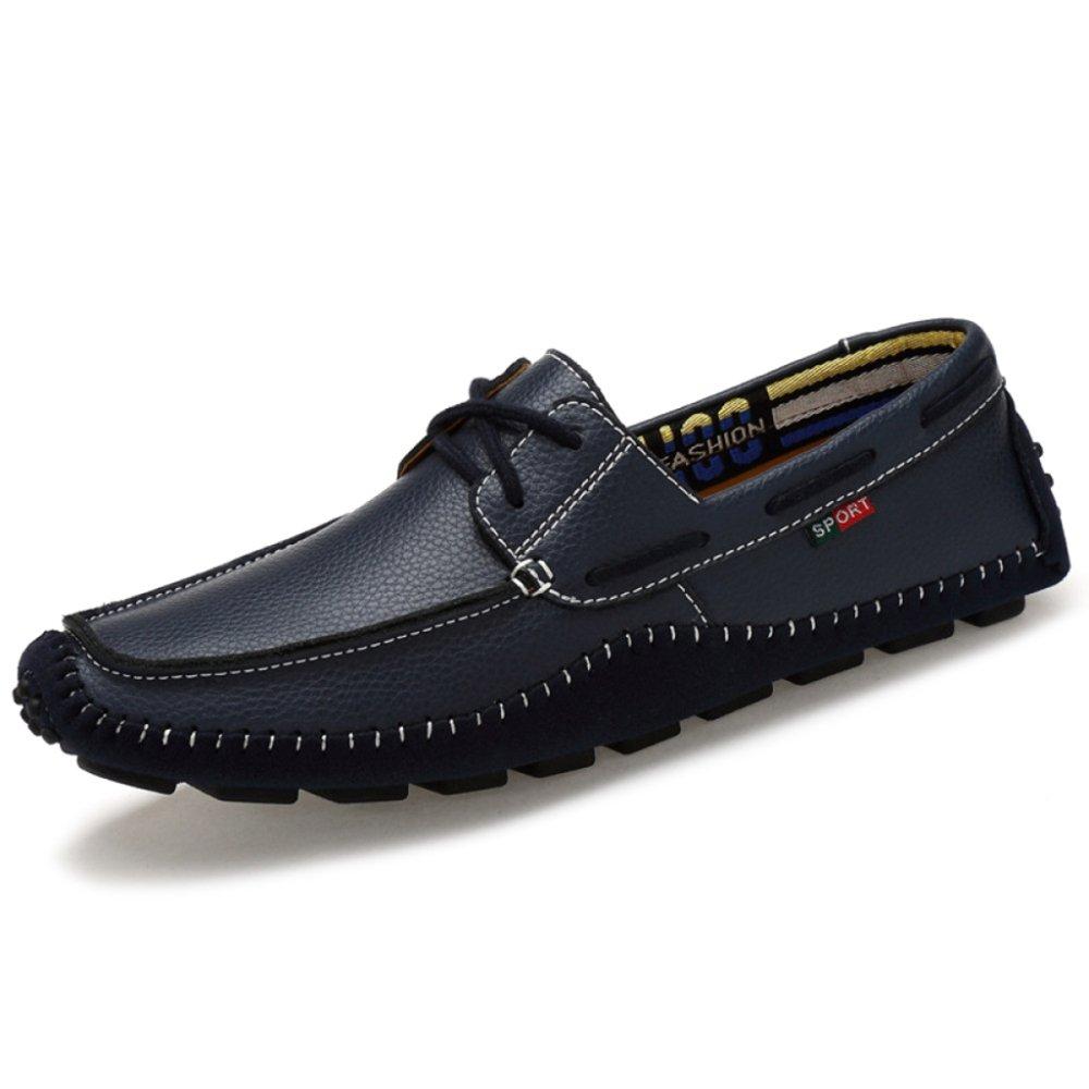 MERRYHE Zapatos con Cordones De Cuero para Barcos Zapatos Mocasines Sin Cordones para Hombres Zapatos De Cubierta Zapato De Moda,Blue-41 41|Blue
