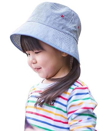 61c8e8edeb29 Bigood Chapeau de Soleil Bébé Enfant Coton Bonnet de Plage Rayure Tour de  Tête 46cm