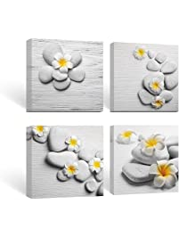 sumgar framed wall art for bathroom canvas paintings for bedroom yellow flowers frangipani zen stones - Wall Paintings For Bedroom