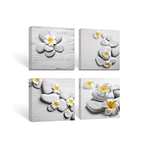 SUMGAR Framed Wall Art Bathroom Canvas Paintings Bedroom Yellow Flowers Frangipani Zen Stones,12''x12''x4