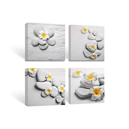 SUMGAR Framed Wall Art For Bathroom Canvas Paintings Bedroom Yellow Flowers Frangipani Zen Stones