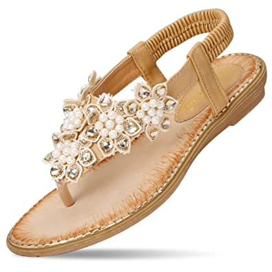 7d04c083a51b Amazon.com  CARETOO Ladies Flat Sandals Shoes