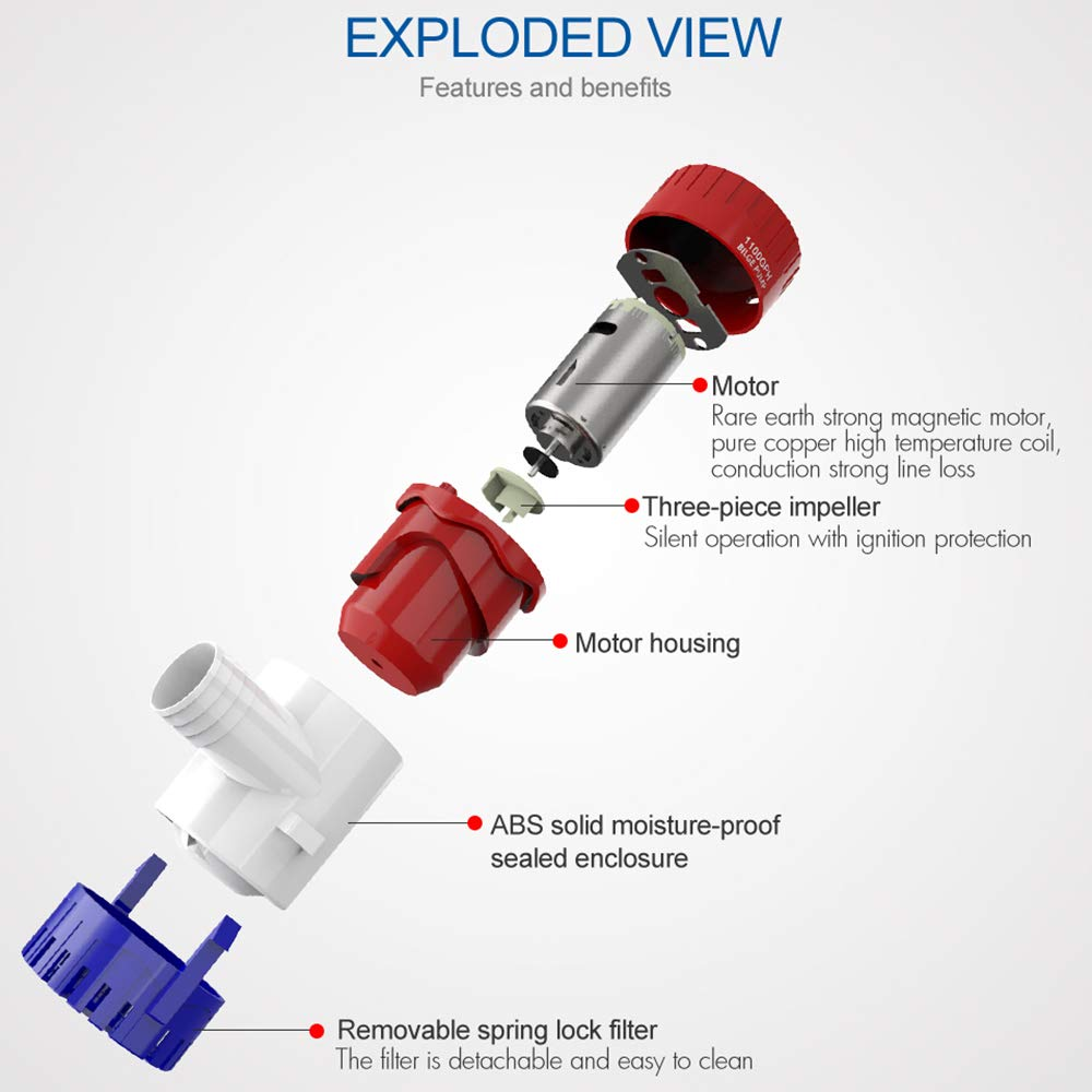 Amazon.com: Bomba de agua eléctrica de 24 V 12 V 1100 GPH ...