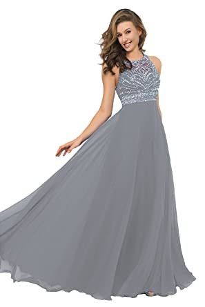 d196517f1 RUKLEID Wowen's Maxi Evening Gowns Chiffon Fabric With Crystal Beads Jewel  Neck Backless Long Prom Party
