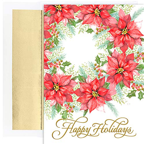 Masterpiece Studios Holiday Collection 18 Cards / 18 Foil Lined Envelopes, Poinsettia Wreath ()