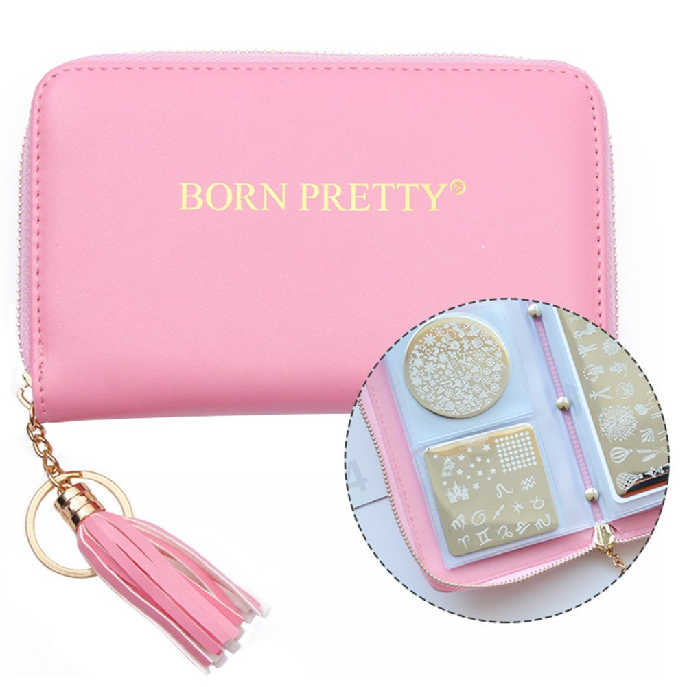 BORN PRETTY 24 Slots Nail Stamping Plate Holder Case Round Square Rectangular Nail Art Stamp Plate Organizer (pink)