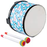 Bongo Tom Drum Floor Drum for Kids 8 inch Montessori Percussion Music Instrument Drum with 2 Mallets for Baby Children Specia