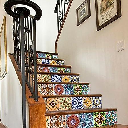 Vinilo Pared decoración del hogar Pegatinas para Escalera Azulejos portugueses Patrones escaleras Unidades N1, 4 x 4 Inches: Amazon.es: Hogar