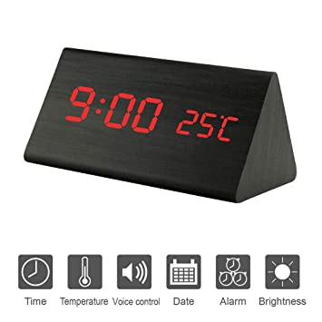 X-EUCO Reloj Despertador Digital, LED Despertador de Manera Pantalla LED Control de Voz con Fecha/Semana/Temperatura para Niños, Hogar, Oficina Triangle ...